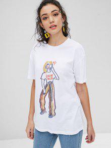 Gran Blanco Estampado Camiseta Gr Tama 225;fica o Estampada S Con De De Figura PwF8AFq