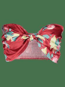 Amo De Floral De S Rojo Raso Bandeau Con Parte Superior Lazo 0HwgcHp78q