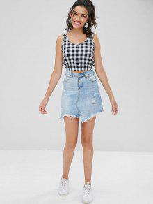 Top Xl Recortada Plaid Negro Tank f5wqxg8P