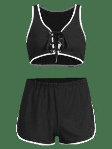 Negro De Cordones Cortos Conjunto M Pantalones Con aBpU4w