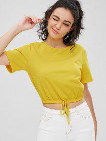 Camiseta Con Contraste Embellecido Bowknot - Amarillo S