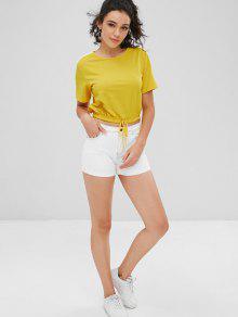 Amarillo Contraste Con S Camiseta Embellecido Bowknot xwpq5zI