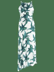 M De Palm De Blanco Cami Estampado Vestido Largo Con De Playa vY1Yq5w6