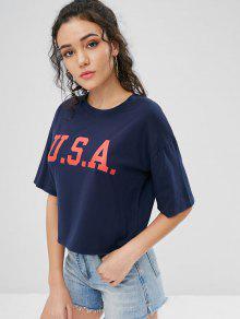 Medianoche De Camiseta USA S Estampada Tipo Dise De Azul Hombro Con o TvTqwxa