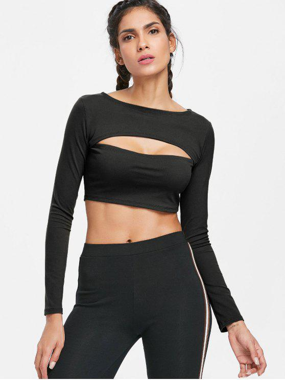 womens Long Sleeve Cut Out Gym Cropped T-Shirt - BLACK L