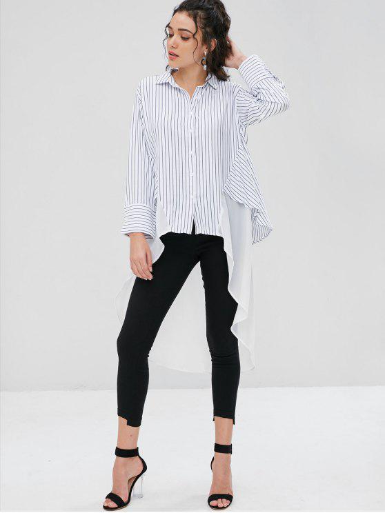 Asymmetrisches Streifen Longline Shirt - Weiß S
