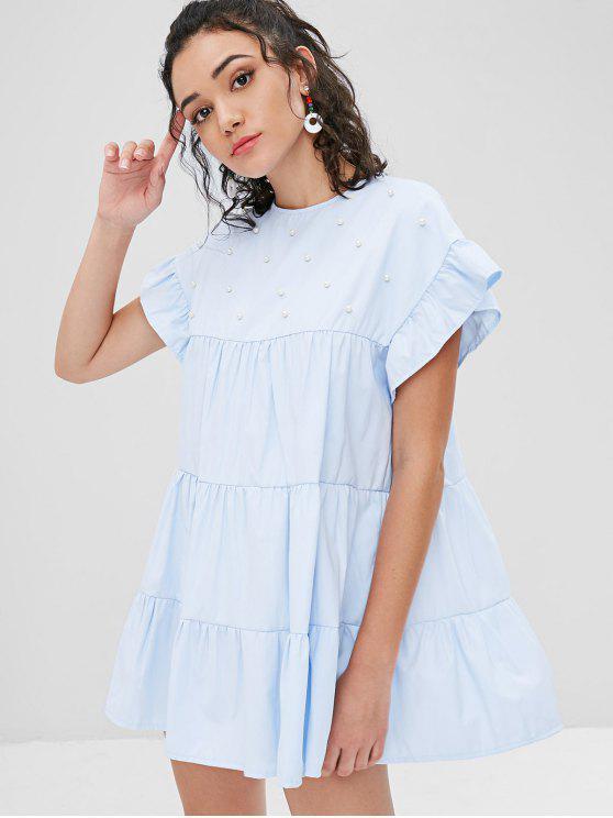 Faux Pearls Ruffles Casual Dress - Azul Claro M