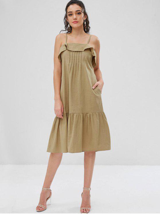 Pintuck Ruffle كامي ميدي فستان الشمس - اخضر غامق L