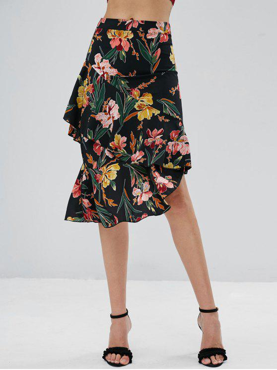 fashion Floral Ruffle Asymmetrical Midi Skirt - BLACK XL
