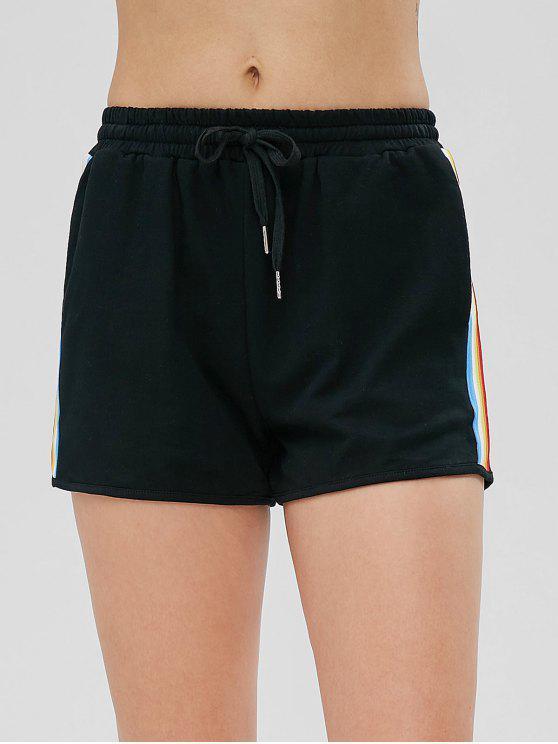 Regenbogen Seitliche Streifen Hoch Taillierte Shorts - Schwarz M