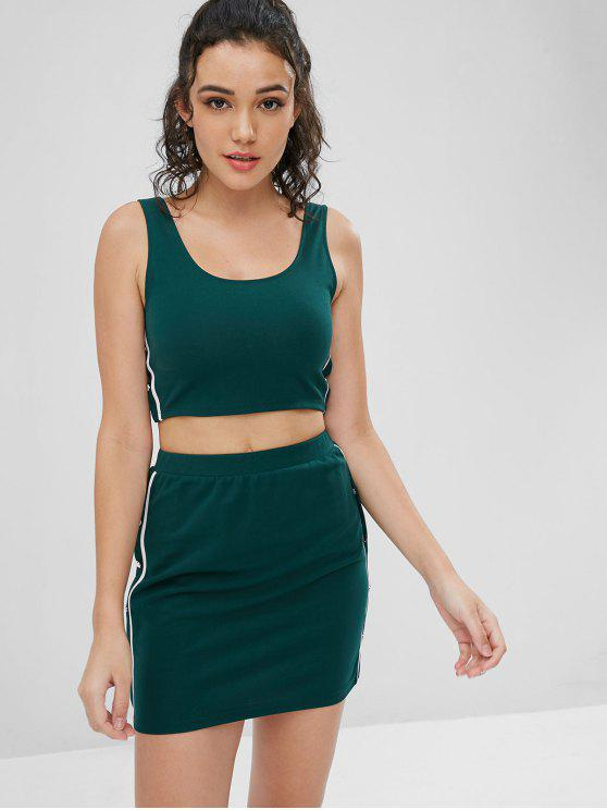 fashion Side Stripe Top and Skirt Two Piece Set - DARK FOREST GREEN L