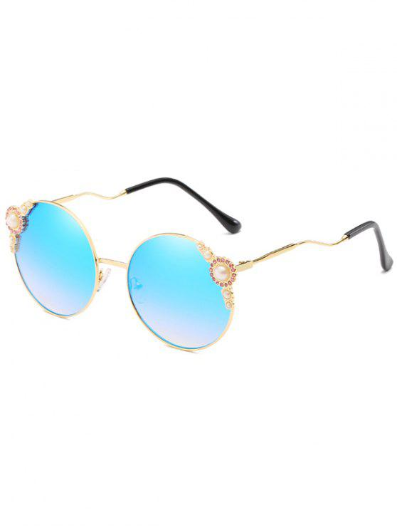 new Anti Fatigue Faux Pearl Inlaid Bent Legs Circle Sunglasses - BUTTERFLY BLUE
