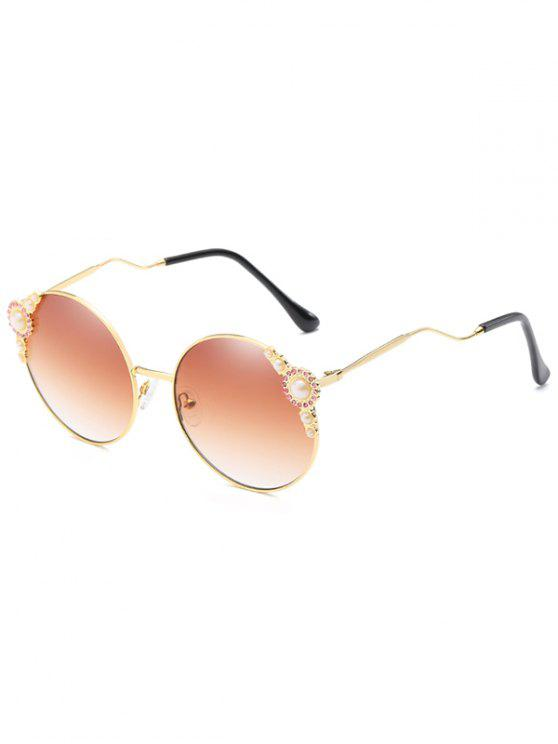 fashion Anti Fatigue Faux Pearl Inlaid Bent Legs Circle Sunglasses - CAMEL BROWN