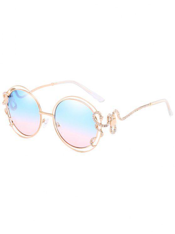 Occhiali Da Sole Ovali Con Montatura Scavata Intarsiati Con Diamante Artificiale - Blu Scuro del Cielo