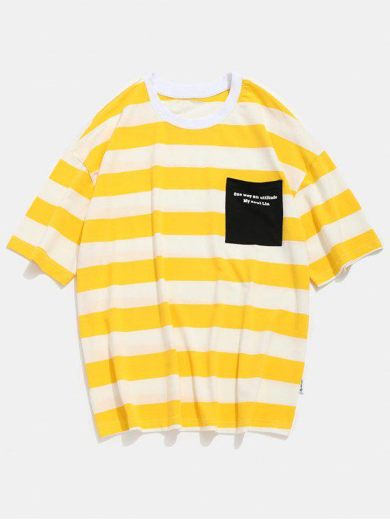 ee897084d4d33 22% OFF] 2019 Slogan Pocket Striped Print T-shirt In YELLOW | ZAFUL