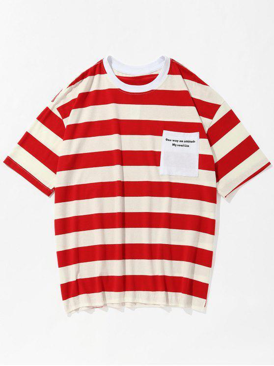 Camiseta con estampado de rayas de bolsillo de Slogan - Rojo XL