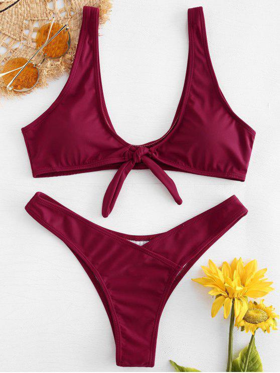 Bikini Top Con Nodo Frontale E Bottoms - Vino Rosso L