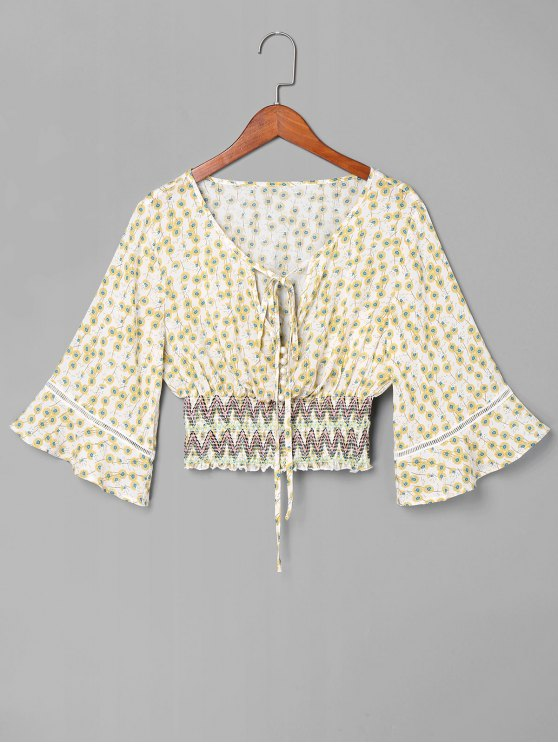 fashion Smocked Floral Bowtie Blouse - WHITE L