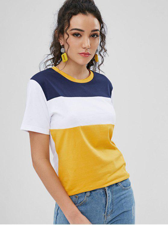 T-Shirt In Contrasto Con Collo Rotondo - Giallo d'oro L
