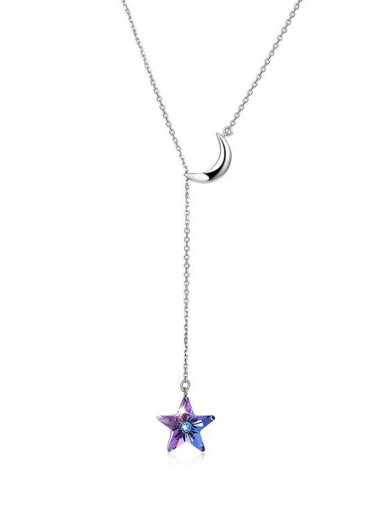 Collier Élégant avec Pendentif Lune et Etoile en Cristal Brillant - Violet Aimable