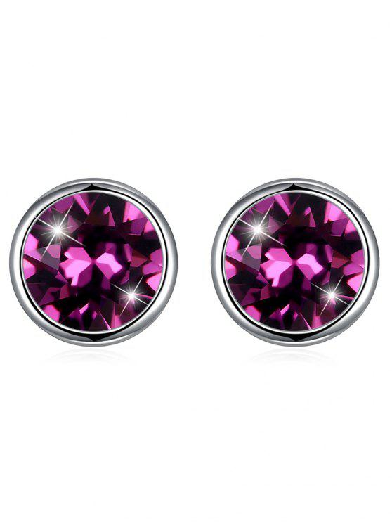 outfits Shiny Crystal Silver Round Stud Earrings - PURPLE