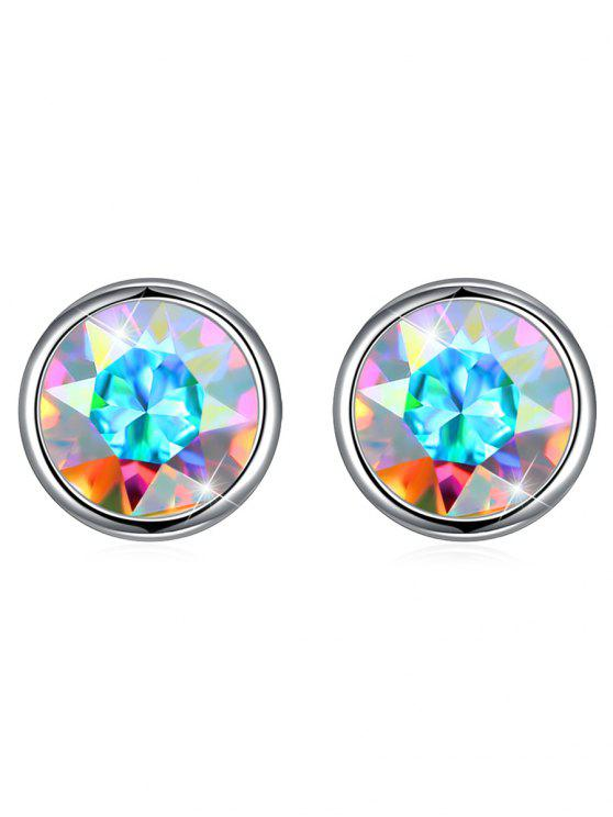 shops Shiny Crystal Silver Round Stud Earrings - SILVER
