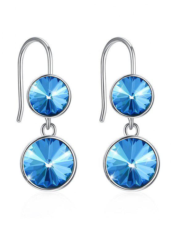 Orecchini Pendenti Con Gancio Intarsiato Di Cristallo Tondo - Blu Farfalla
