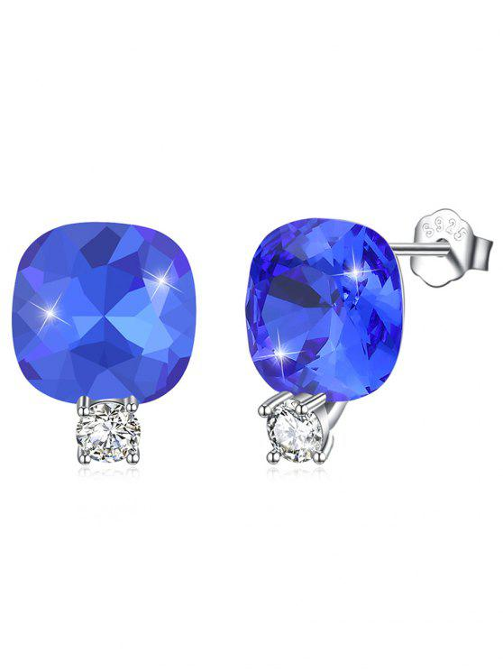 Boucles d'Oreilles Clous en Argent Motif Carré en Strass Brillants - Bleu Royal