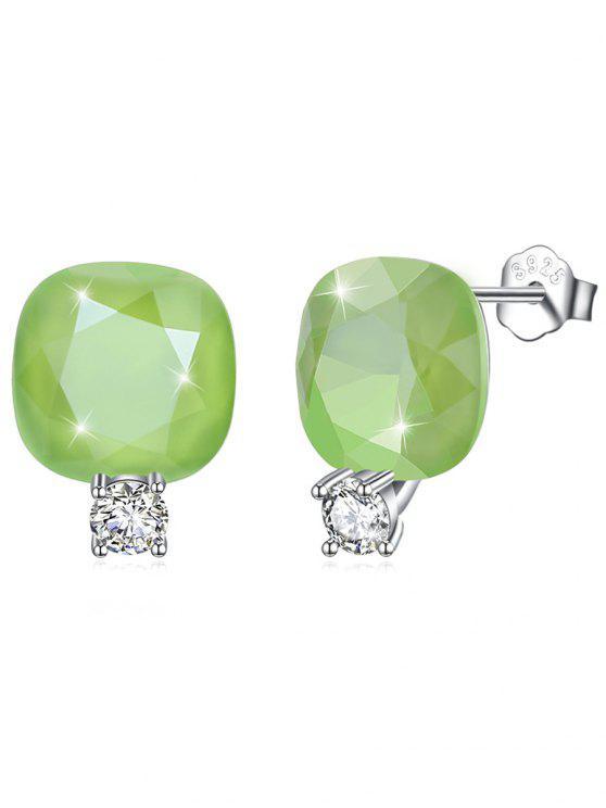 Brillante Rhinestone Square Crystal Silver Stud Pendientes - Verde de Pistacho