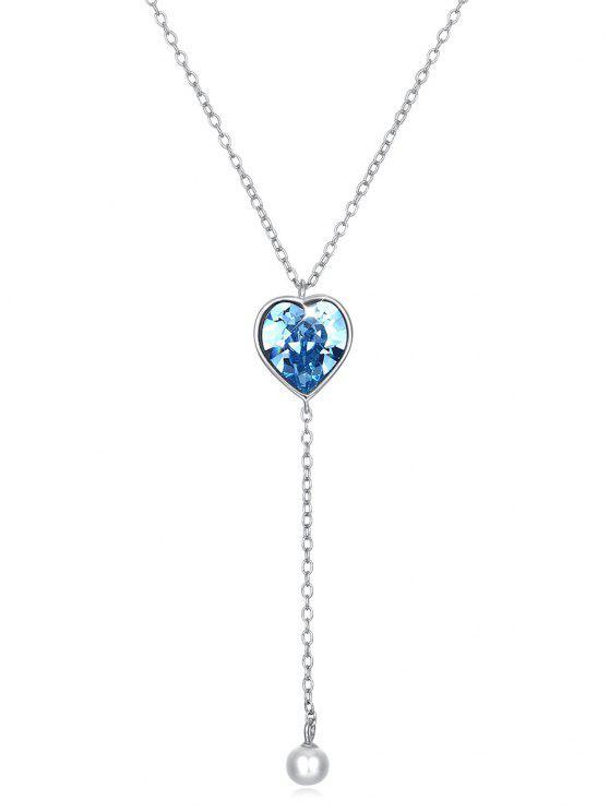 كريستال القلب سلسلة طويلة قلادة قلادة - الفراشة الزرقاء