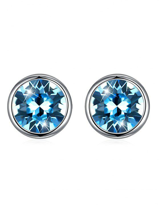 hot Shiny Crystal Silver Round Stud Earrings - BUTTERFLY BLUE
