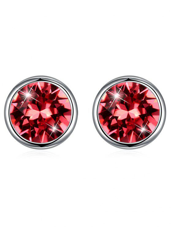 outfits Shiny Crystal Silver Round Stud Earrings - ORANGE PINK