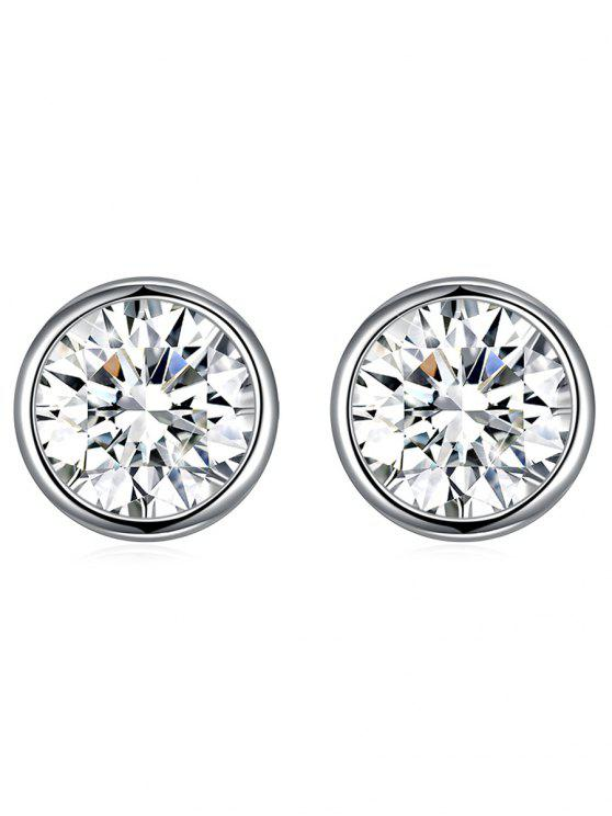 Brincos redondos brilhantes de cristal de prata do parafuso prisioneiro - Branco