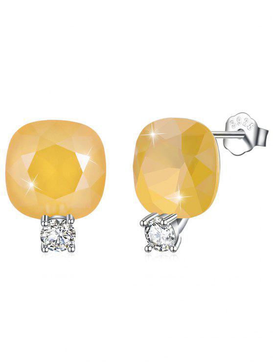 fancy Shiny Rhinestone Square Crystal Silver Stud Earrings - BEE YELLOW