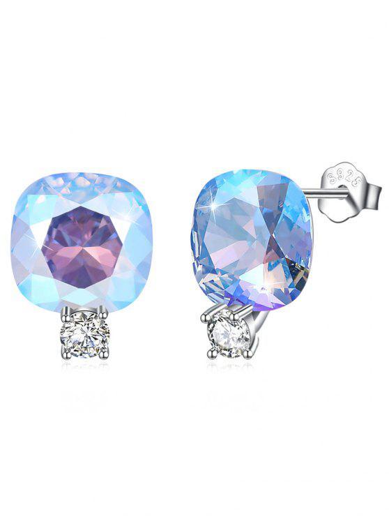 Boucles d'Oreilles Clous en Argent Motif Carré en Strass Brillants - Lagune Bleu
