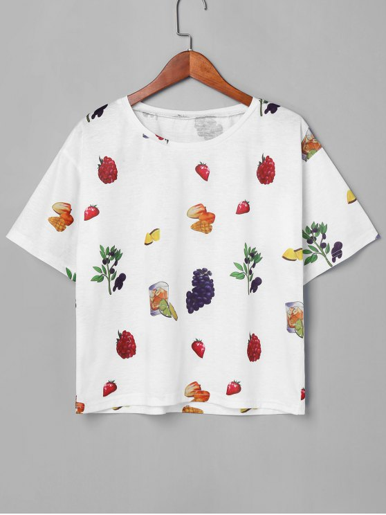 T-Shirt A Girocollo Con Stampa Di Frutta - Bianca L
