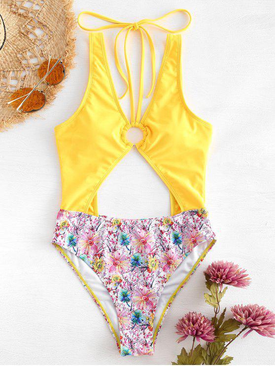 Costume Da Bagno Floreale Con Taglio Alto - Giallo Rubber Ducky S