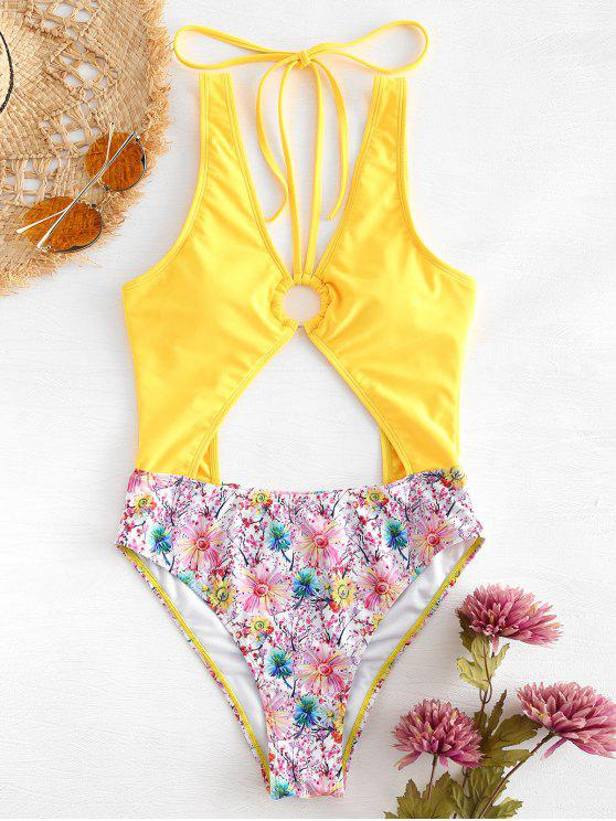 new Low Back Floral High Cut Swimsuit - RUBBER DUCKY YELLOW M