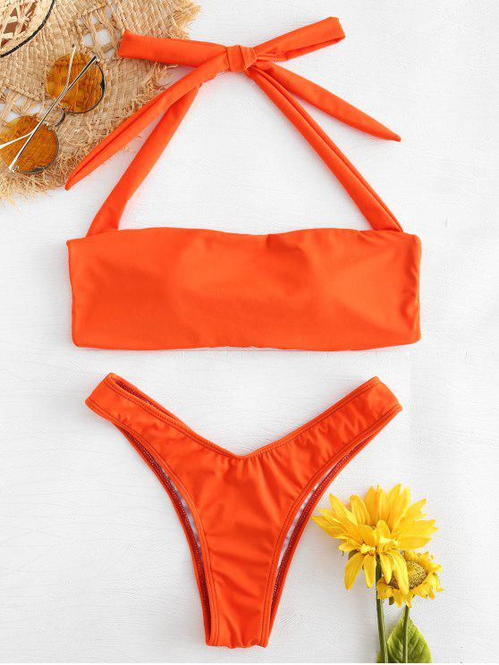 hot Cross Strap Halter Bikini - ORANGE L