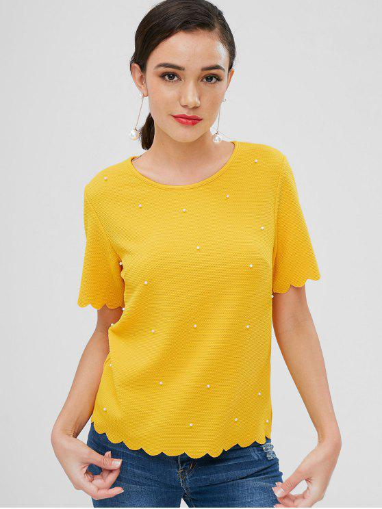 best Beaded Scalloped Textured Top - YELLOW M