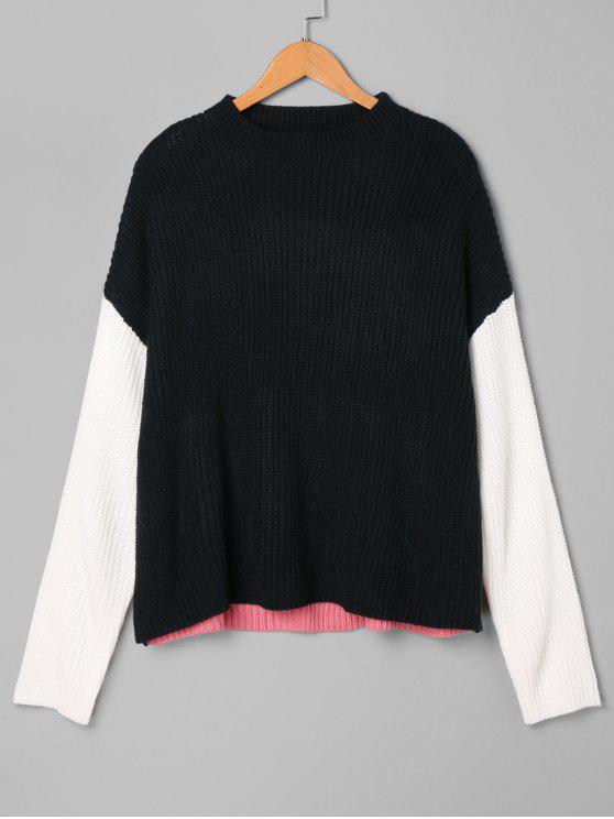 Suéter de Blocos de Cor em Tripulação - Preto Tamanho único