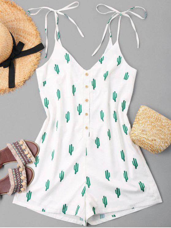 women Buttoned Cacti Cami Romper - WHITE M