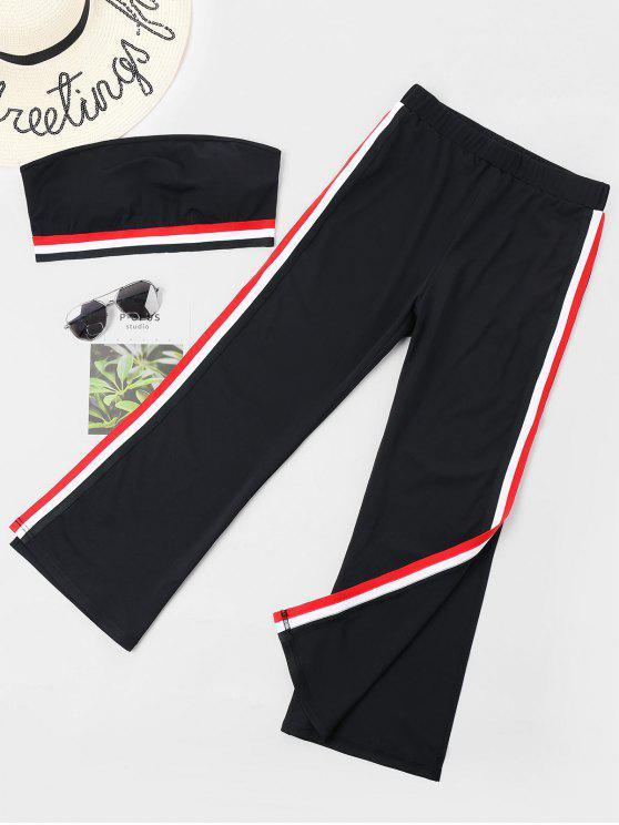 Conjunto de pantalón de rayas con rayas parcheadas - Negro M