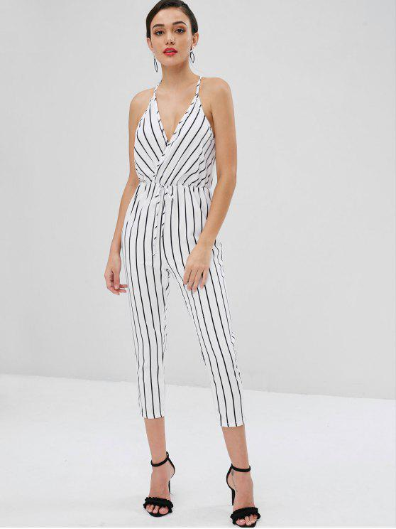 ladies Surplice Striped Tapered Jumpsuit - WHITE M