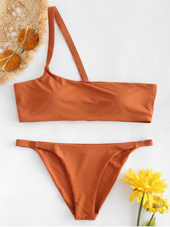 chic String One Shoulder Bikini - RUST L