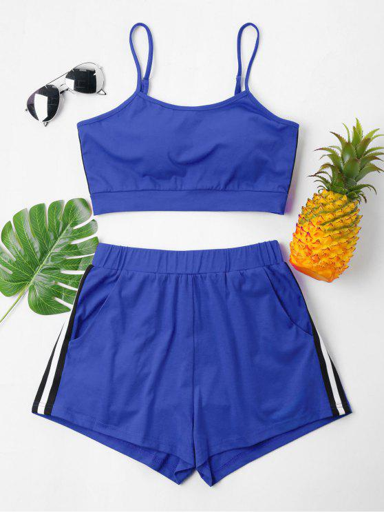 Kontrast Cami Top Und Shorts Set - Blaubeere XL
