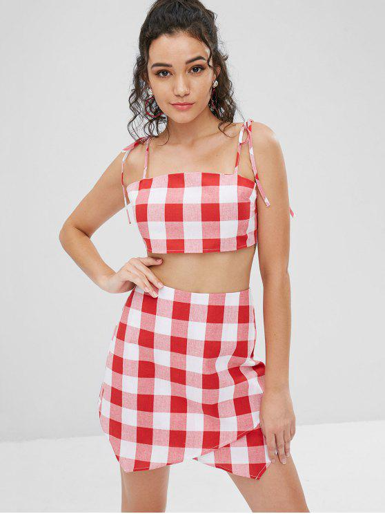 hot Knotted Plaid Top and Skorts Set - RED L