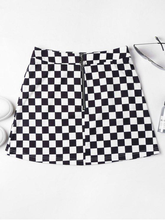 affordable Zip Front Checkered Skirt - BLACK XL