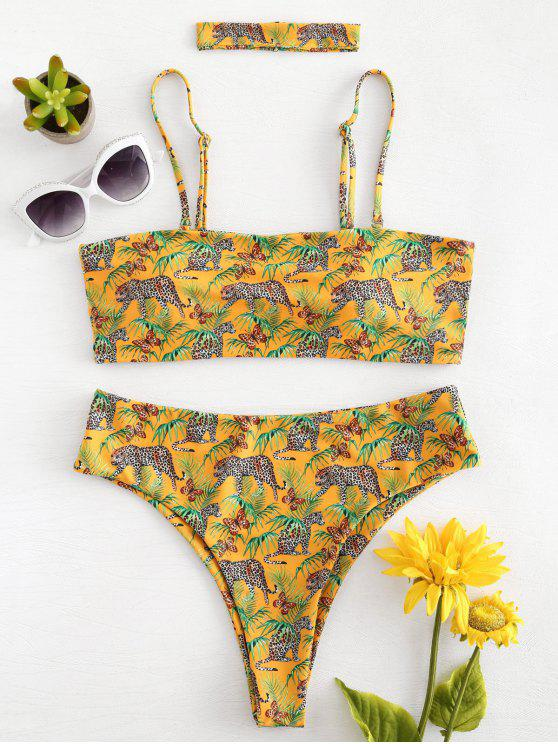 outfit High Cut Leopard Choker Bikini - BRIGHT YELLOW M