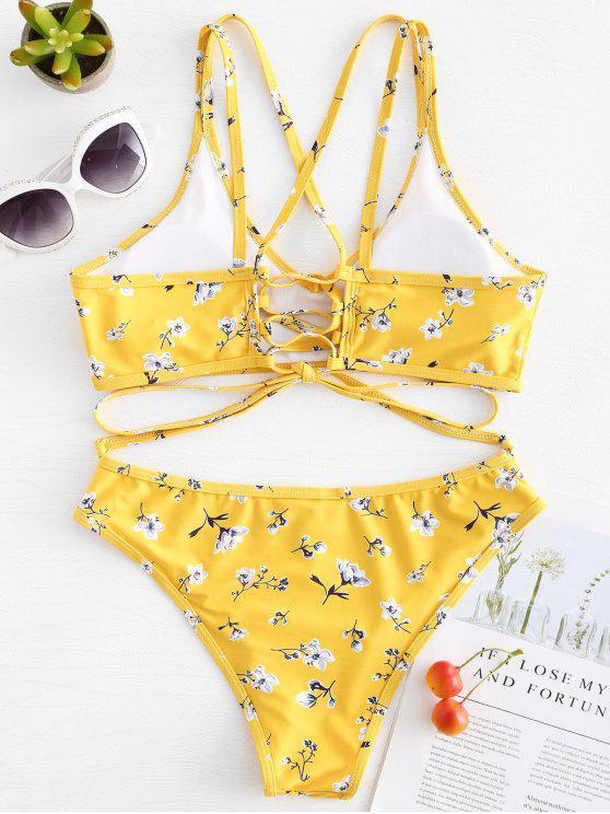 Bikini Floreale Con Lacci - Giallo Rubber Ducky L